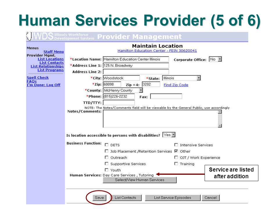 Human Services Provider (5 of 6) Service are listed after addition