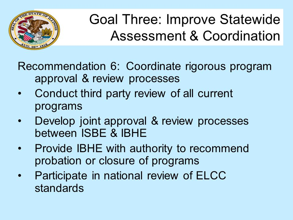 Goal Three: Improve Statewide Assessment & Coordination Recommendation 6: Coordinate rigorous program approval & review processes Conduct third party review of all current programs Develop joint approval & review processes between ISBE & IBHE Provide IBHE with authority to recommend probation or closure of programs Participate in national review of ELCC standards
