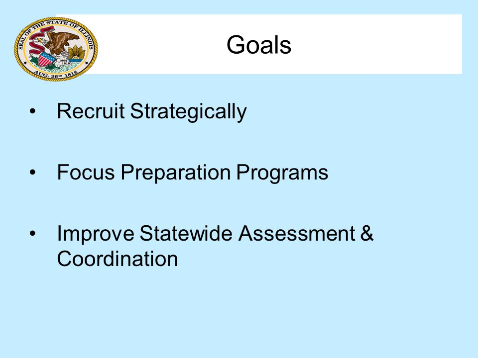 Goals Recruit Strategically Focus Preparation Programs Improve Statewide Assessment & Coordination