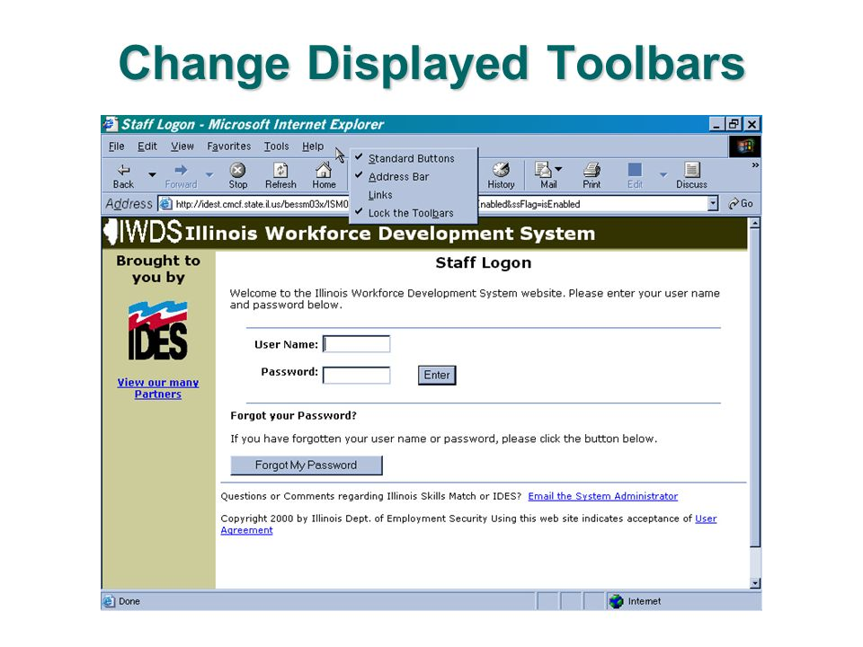 Change Displayed Toolbars