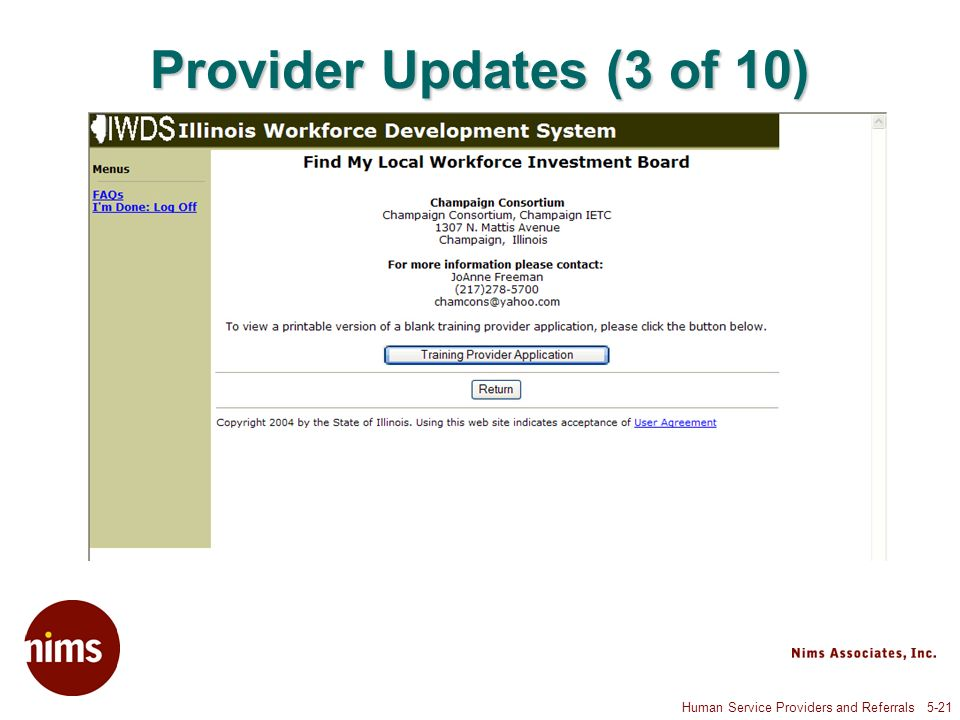 Human Service Providers and Referrals 5-21 Provider Updates (3 of 10)