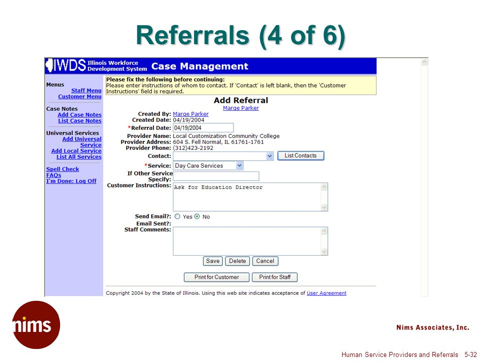 Human Service Providers and Referrals 5-32 Referrals (4 of 6)