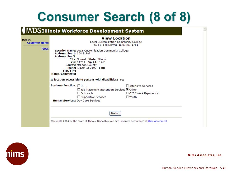 Human Service Providers and Referrals 5-42 Consumer Search (8 of 8)