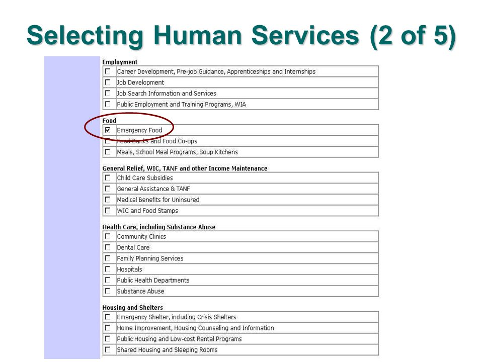Selecting Human Services (2 of 5)