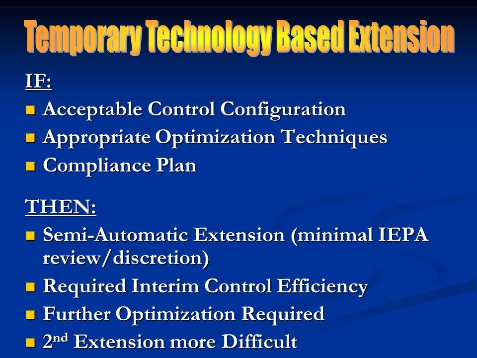 IF: Acceptable Control Configuration Acceptable Control Configuration Appropriate Optimization Techniques Appropriate Optimization Techniques Complian