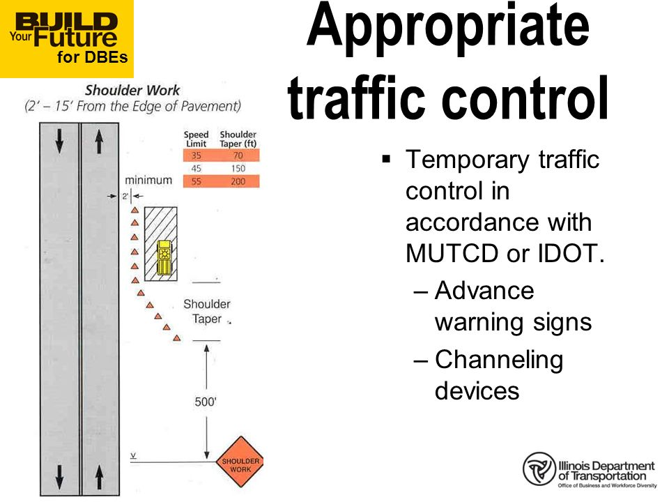 for DBEs Appropriate traffic control Temporary traffic control in accordance with MUTCD or IDOT.