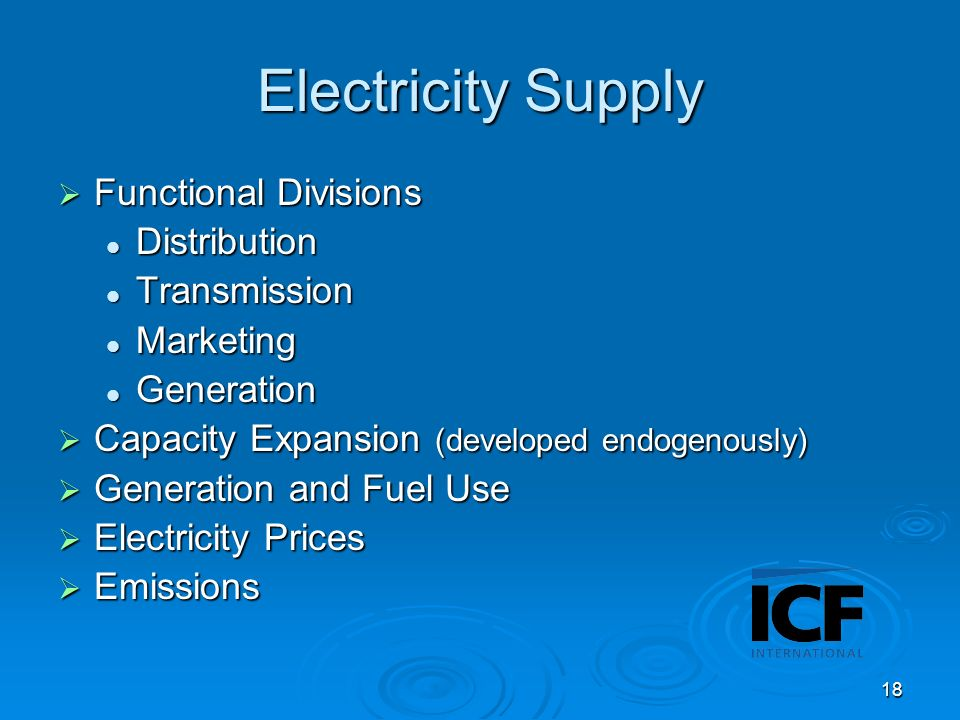 18 Electricity Supply Functional Divisions Functional Divisions Distribution Distribution Transmission Transmission Marketing Marketing Generation Generation Capacity Expansion (developed endogenously) Capacity Expansion (developed endogenously) Generation and Fuel Use Generation and Fuel Use Electricity Prices Electricity Prices Emissions Emissions