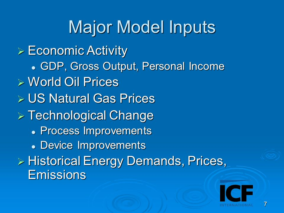 8 Major Model Outputs Fuel Usage for All Fuels Fuel Usage for All Fuels Device and Process Efficiencies Device and Process Efficiencies Fuel Shares Fuel Shares Electricity Generation, Capacity, Prices Electricity Generation, Capacity, Prices Oil and Gas Imports and Exports Oil and Gas Imports and Exports Emissions – GHG and CAC Emissions – GHG and CAC Outputs for all end uses, sectors, and provinces Outputs for all end uses, sectors, and provinces