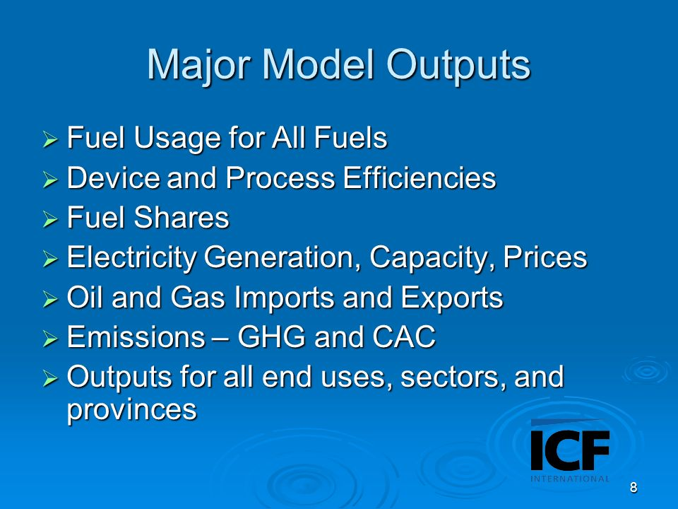 9 Behavioral Model Dynamically describes the behavior of both energy suppliers and consumers for all fuels and for all end-uses Dynamically describes the behavior of both energy suppliers and consumers for all fuels and for all end-uses Decisions are endogenous to the model Decisions are endogenous to the model Flexible policy scenario analysis capability Flexible policy scenario analysis capability