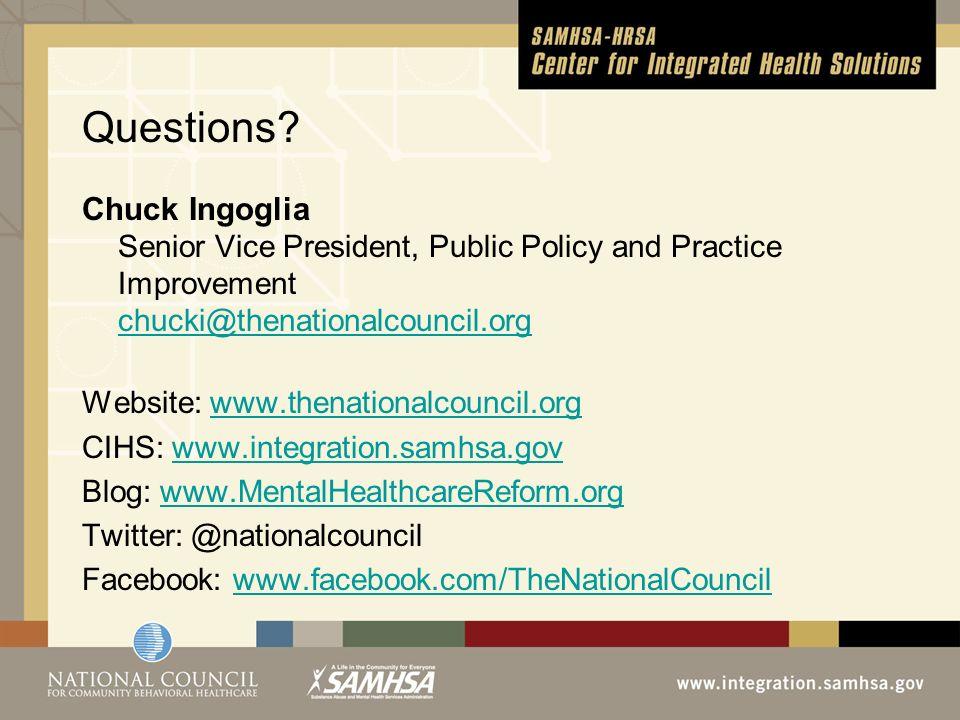 Questions? Chuck Ingoglia Senior Vice President, Public Policy and Practice Improvement chucki@thenationalcouncil.org chucki@thenationalcouncil.org We