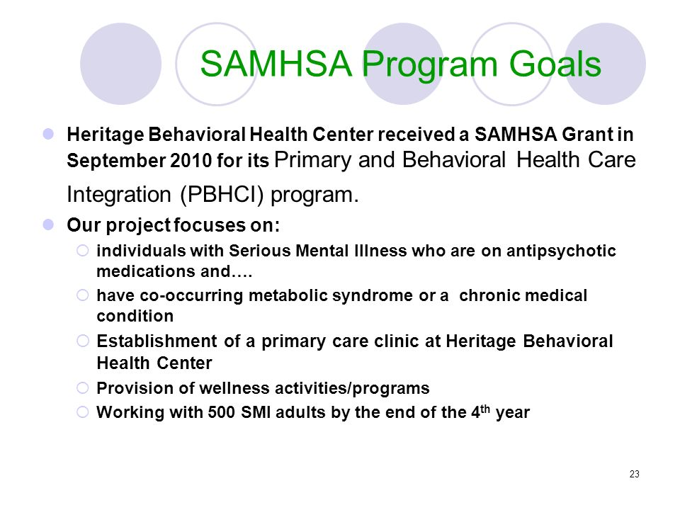 23 SAMHSA Program Goals Heritage Behavioral Health Center received a SAMHSA Grant in September 2010 for its Primary and Behavioral Health Care Integra