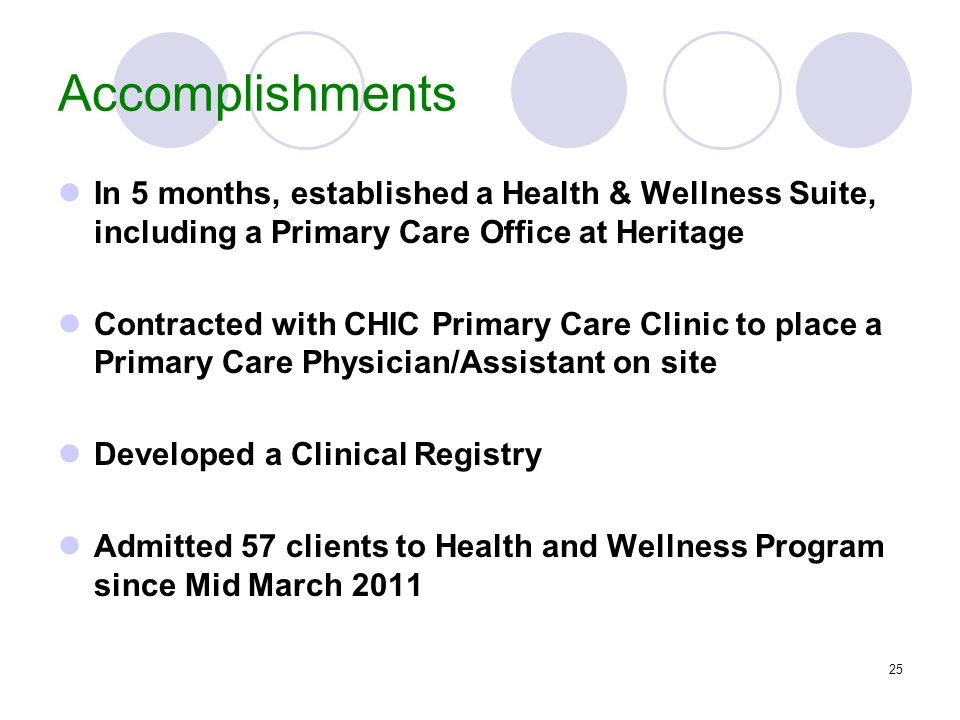 25 Accomplishments In 5 months, established a Health & Wellness Suite, including a Primary Care Office at Heritage Contracted with CHIC Primary Care C