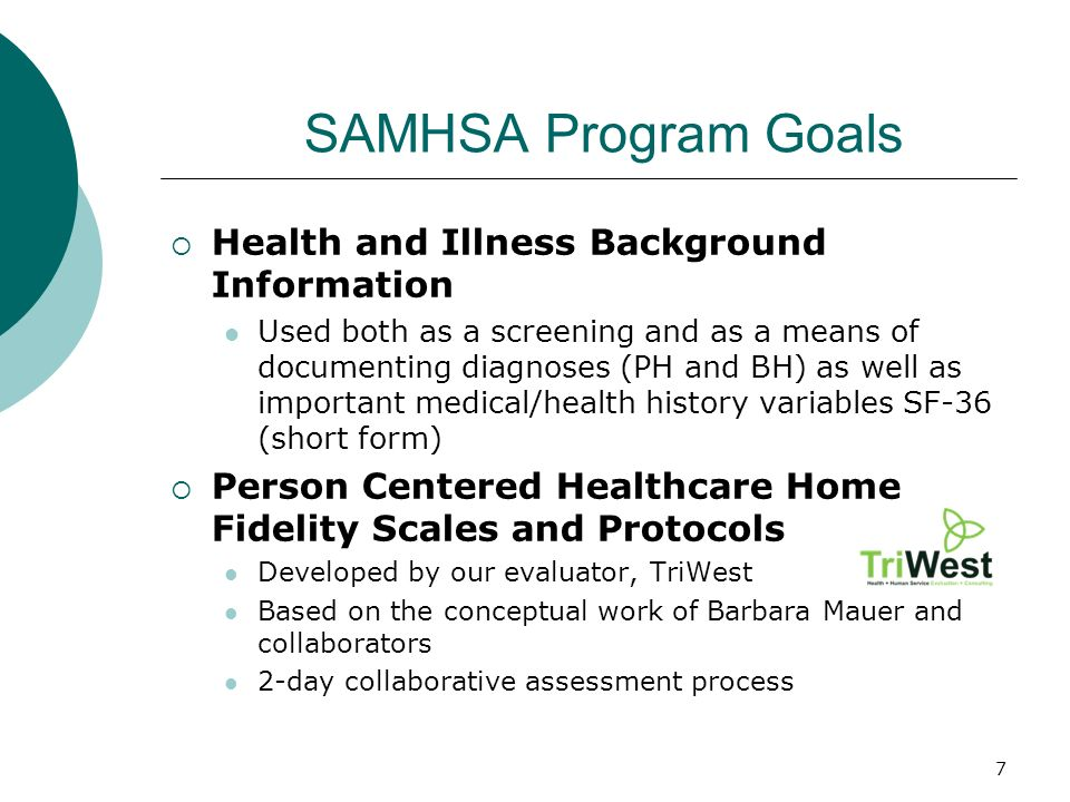 7 SAMHSA Program Goals Health and Illness Background Information Used both as a screening and as a means of documenting diagnoses (PH and BH) as well