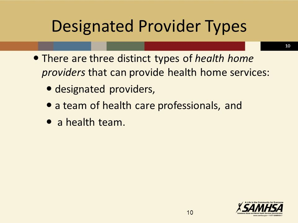 10 Designated Provider Types There are three distinct types of health home providers that can provide health home services: designated providers, a team of health care professionals, and a health team.