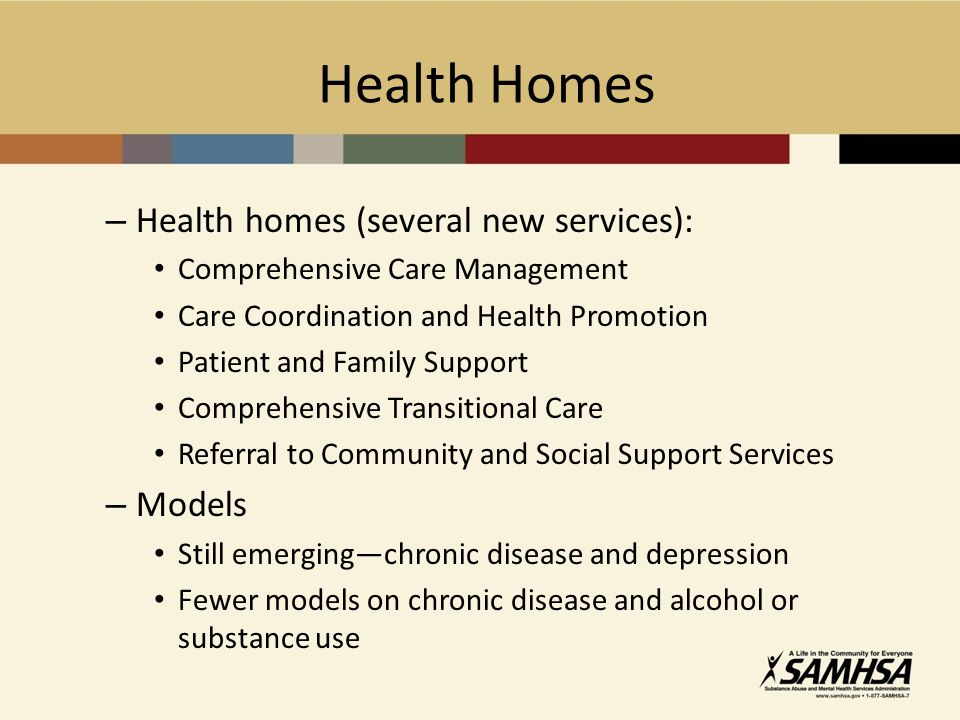 Health Homes – Health homes (several new services): Comprehensive Care Management Care Coordination and Health Promotion Patient and Family Support Comprehensive Transitional Care Referral to Community and Social Support Services – Models Still emergingchronic disease and depression Fewer models on chronic disease and alcohol or substance use