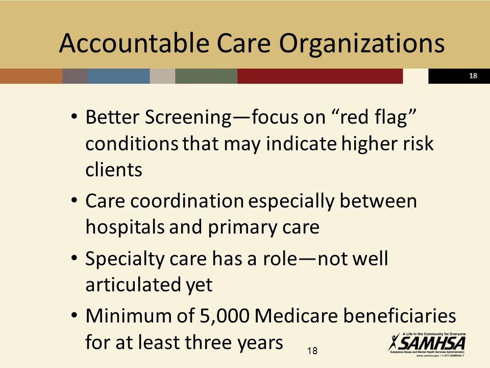 18 Accountable Care Organizations Better Screeningfocus on red flag conditions that may indicate higher risk clients Care coordination especially between hospitals and primary care Specialty care has a rolenot well articulated yet Minimum of 5,000 Medicare beneficiaries for at least three years 18