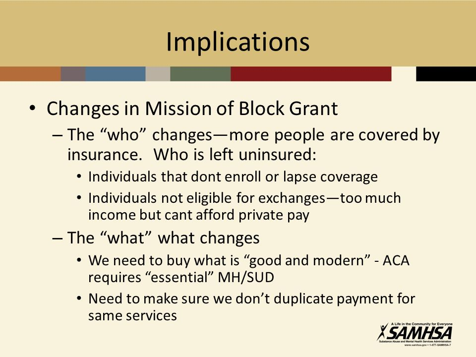 Implications Changes in Mission of Block Grant – The who changesmore people are covered by insurance.