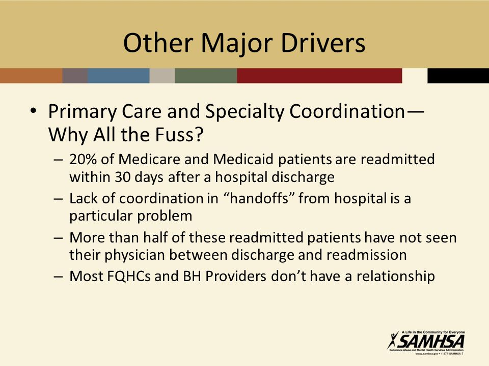 Other Major Drivers Primary Care and Specialty Coordination Why All the Fuss.