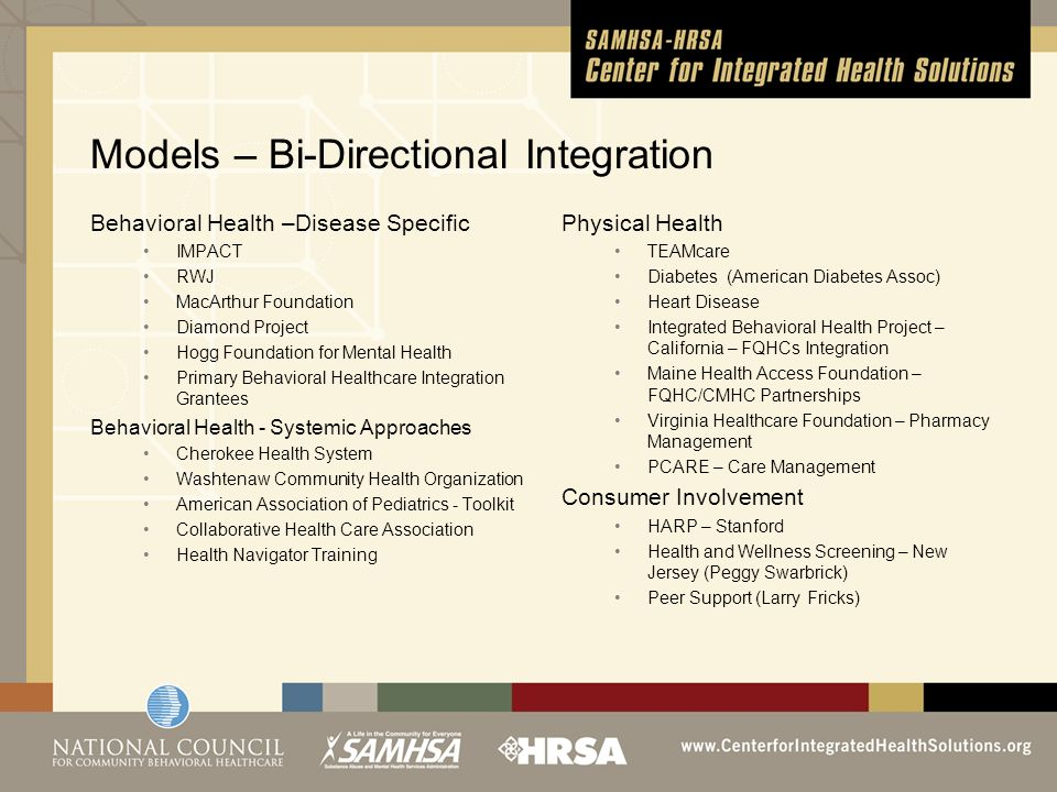 Models – Bi-Directional Integration Behavioral Health –Disease Specific IMPACT RWJ MacArthur Foundation Diamond Project Hogg Foundation for Mental Health Primary Behavioral Healthcare Integration Grantees Behavioral Health - Systemic Approaches Cherokee Health System Washtenaw Community Health Organization American Association of Pediatrics - Toolkit Collaborative Health Care Association Health Navigator Training Physical Health TEAMcare Diabetes (American Diabetes Assoc) Heart Disease Integrated Behavioral Health Project – California – FQHCs Integration Maine Health Access Foundation – FQHC/CMHC Partnerships Virginia Healthcare Foundation – Pharmacy Management PCARE – Care Management Consumer Involvement HARP – Stanford Health and Wellness Screening – New Jersey (Peggy Swarbrick) Peer Support (Larry Fricks)