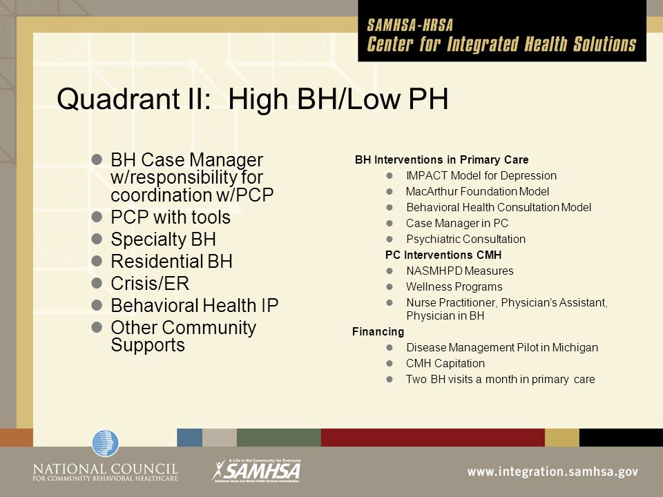Quadrant II: High BH/Low PH BH Case Manager w/responsibility for coordination w/PCP PCP with tools Specialty BH Residential BH Crisis/ER Behavioral Health IP Other Community Supports BH Interventions in Primary Care IMPACT Model for Depression MacArthur Foundation Model Behavioral Health Consultation Model Case Manager in PC Psychiatric Consultation PC Interventions CMH NASMHPD Measures Wellness Programs Nurse Practitioner, Physicians Assistant, Physician in BH Financing Disease Management Pilot in Michigan CMH Capitation Two BH visits a month in primary care