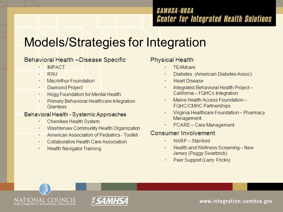 Models/Strategies for Integration Behavioral Health –Disease Specific IMPACT RWJ MacArthur Foundation Diamond Project Hogg Foundation for Mental Health Primary Behavioral Healthcare Integration Grantees Behavioral Health - Systemic Approaches Cherokee Health System Washtenaw Community Health Organization American Association of Pediatrics - Toolkit Collaborative Health Care Association Health Navigator Training Physical Health TEAMcare Diabetes (American Diabetes Assoc) Heart Disease Integrated Behavioral Health Project – California – FQHCs Integration Maine Health Access Foundation – FQHC/CMHC Partnerships Virginia Healthcare Foundation – Pharmacy Management PCARE – Care Management Consumer Involvement HARP – Stanford Health and Wellness Screening – New Jersey (Peggy Swarbrick) Peer Support (Larry Fricks)