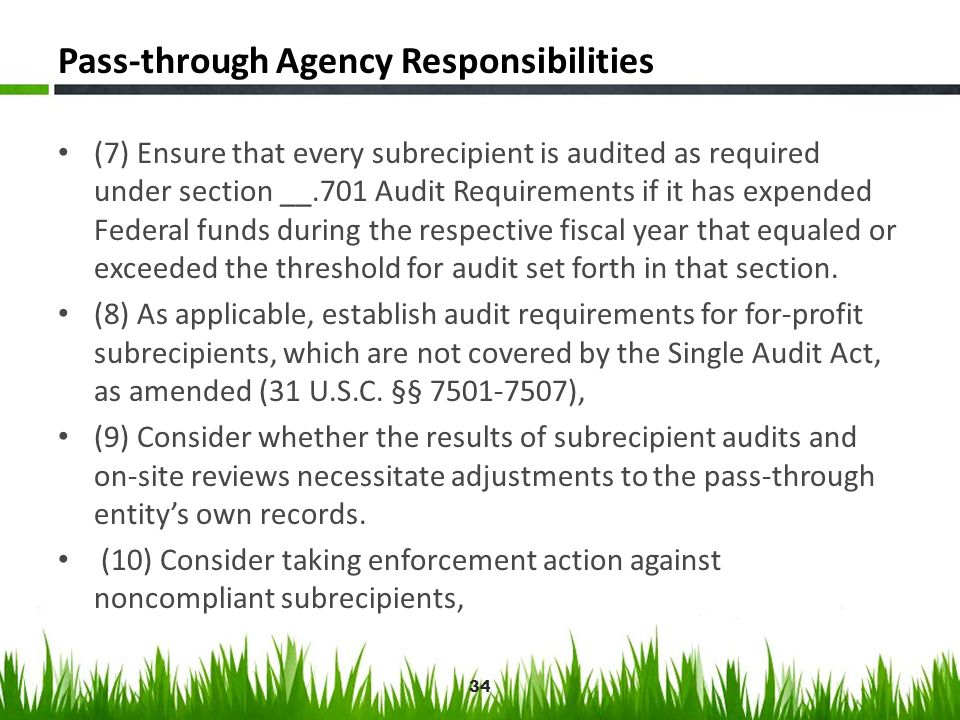 Pass-through Agency Responsibilities (7) Ensure that every subrecipient is audited as required under section __.701 Audit Requirements if it has expen