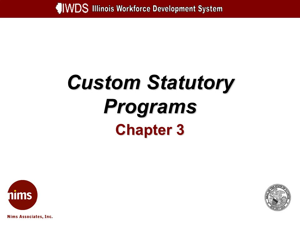 Custom Statutory Programs Chapter 3