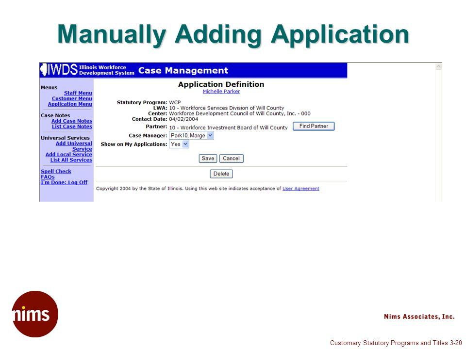 Customary Statutory Programs and Titles 3-20 Manually Adding Application