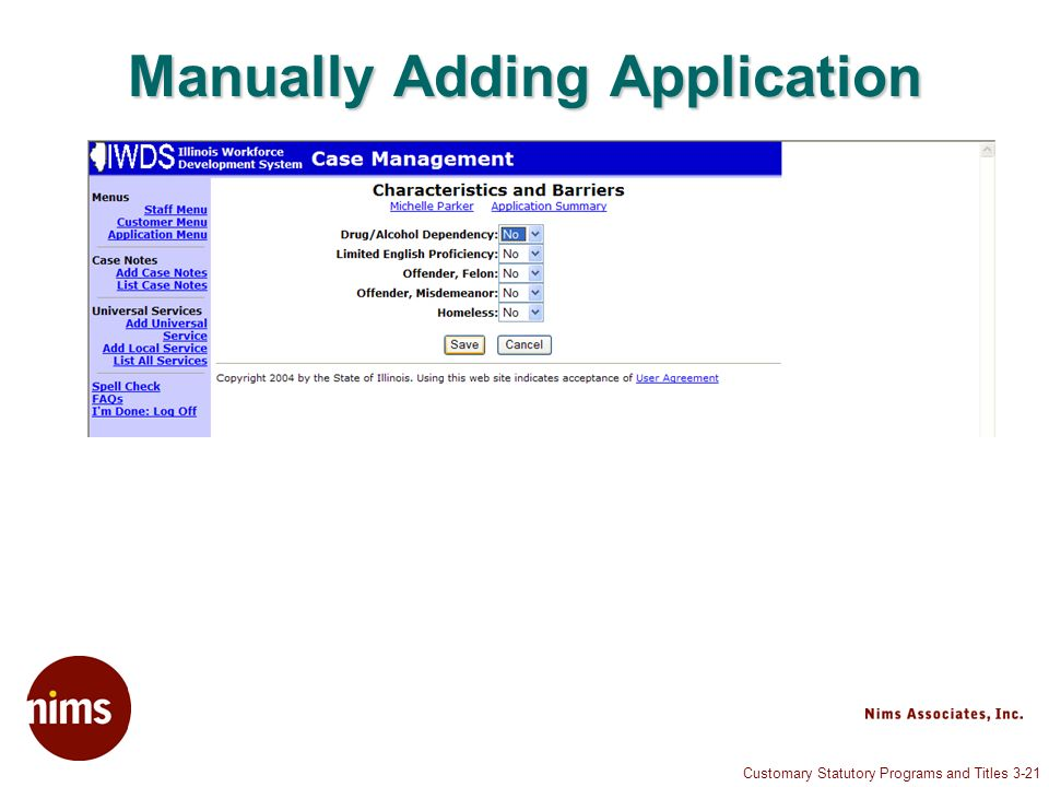 Customary Statutory Programs and Titles 3-21 Manually Adding Application