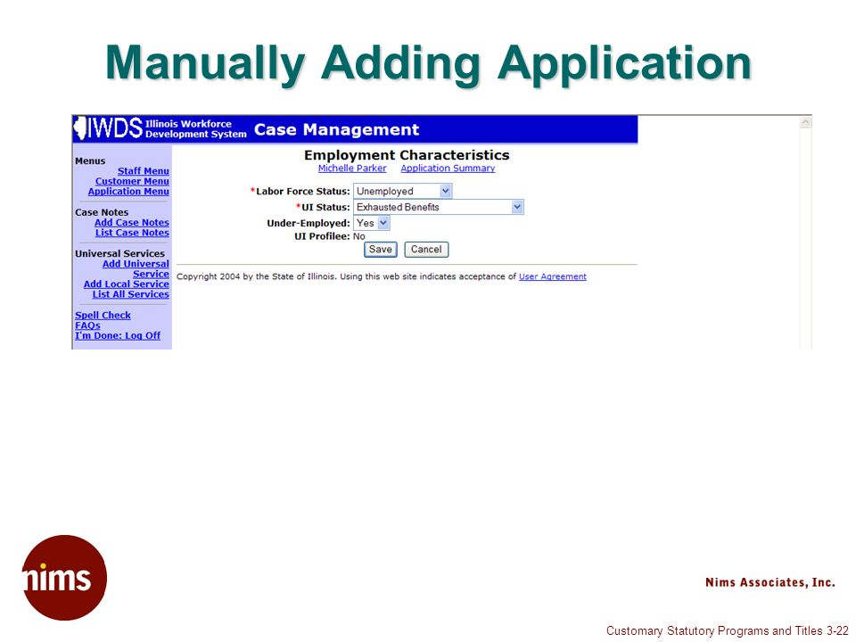 Customary Statutory Programs and Titles 3-22 Manually Adding Application