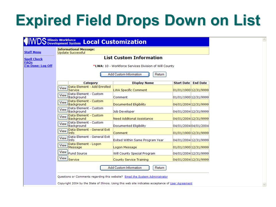 Expired Field Drops Down on List