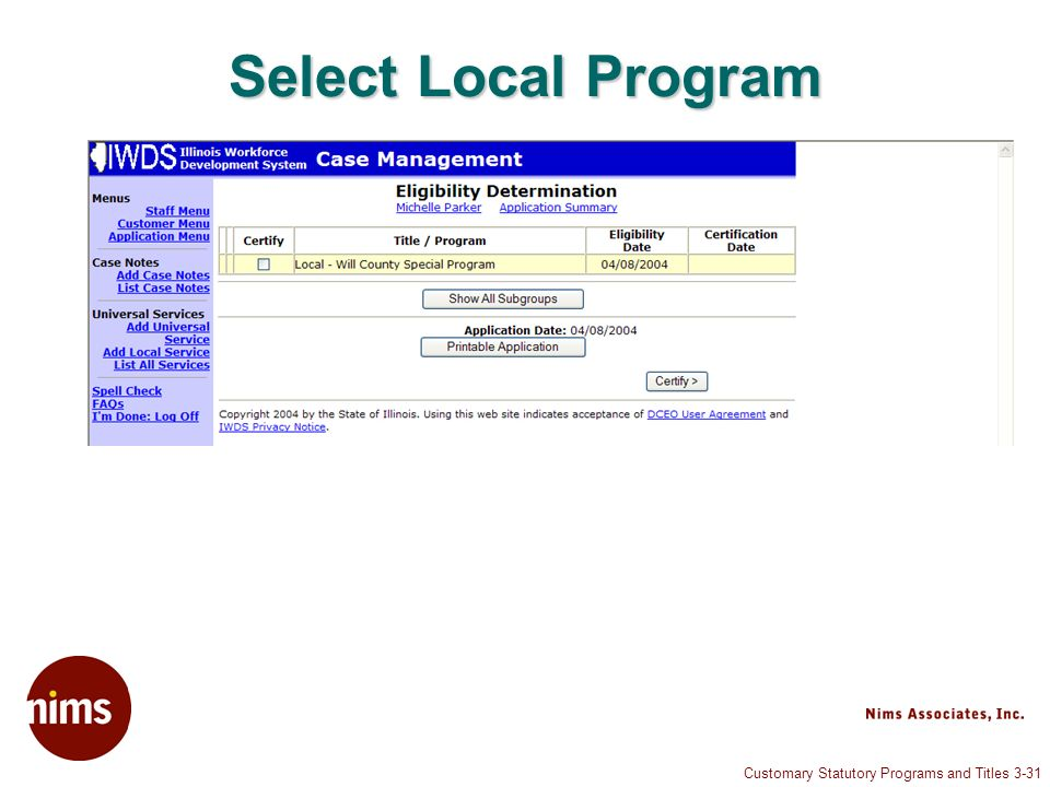 Customary Statutory Programs and Titles 3-31 Select Local Program