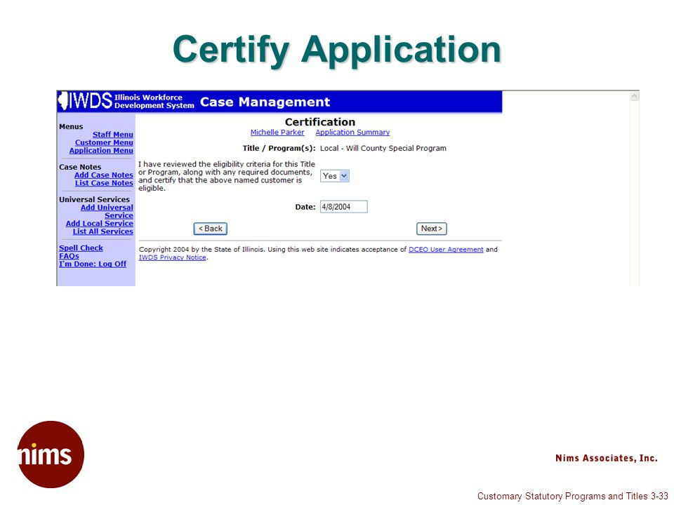 Customary Statutory Programs and Titles 3-33 Certify Application