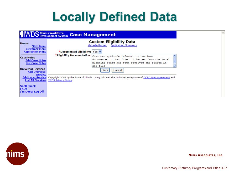 Customary Statutory Programs and Titles 3-37 Locally Defined Data