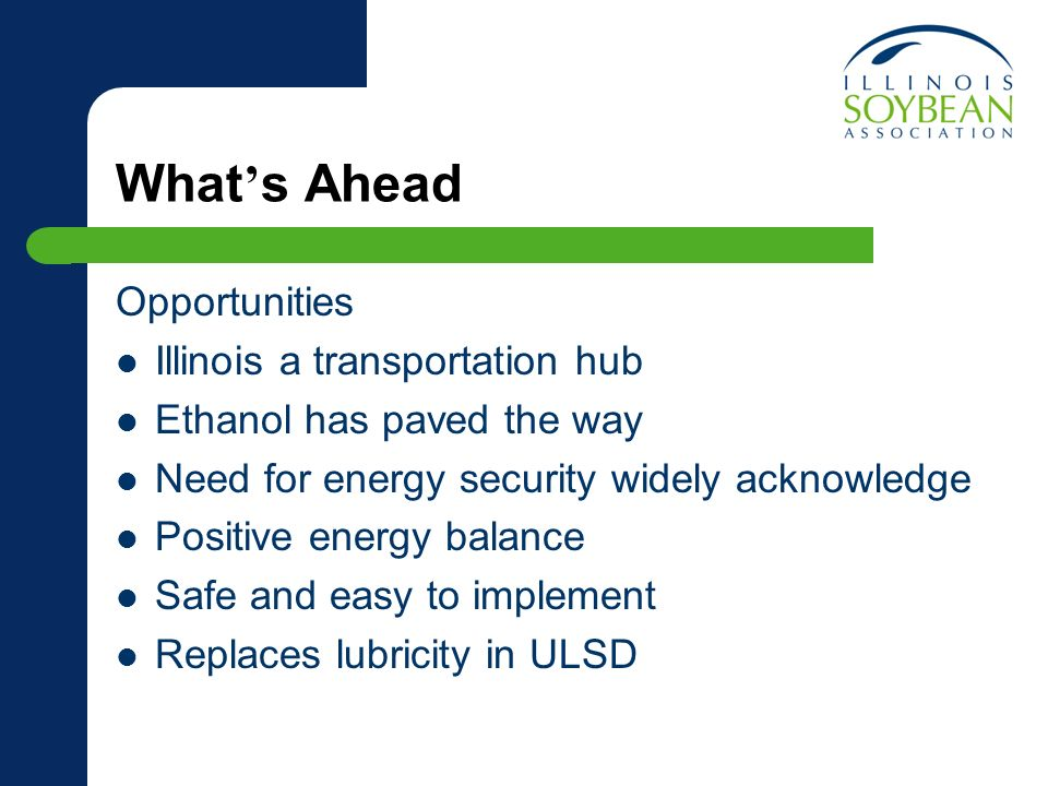 What s Ahead Opportunities Illinois a transportation hub Ethanol has paved the way Need for energy security widely acknowledge Positive energy balance