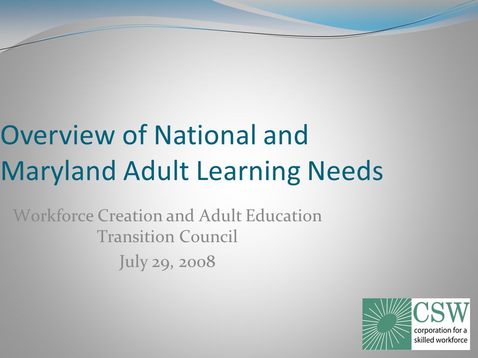 Overview of National and Maryland Adult Learning Needs Workforce Creation and Adult Education Transition Council July 29, 2008