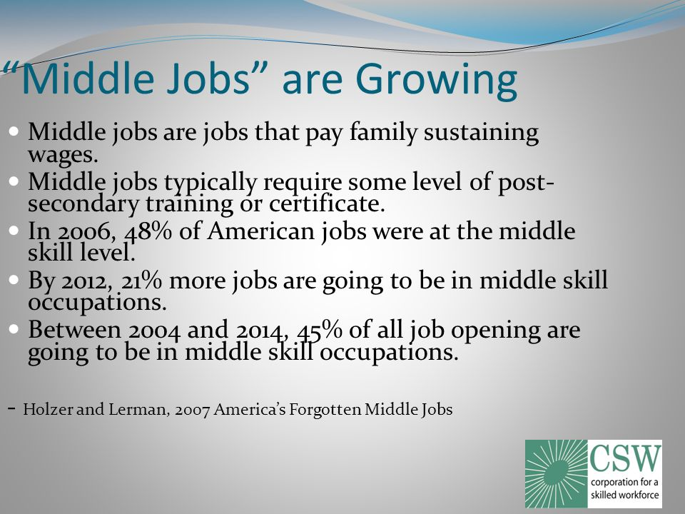Middle Jobs are Growing Middle jobs are jobs that pay family sustaining wages.