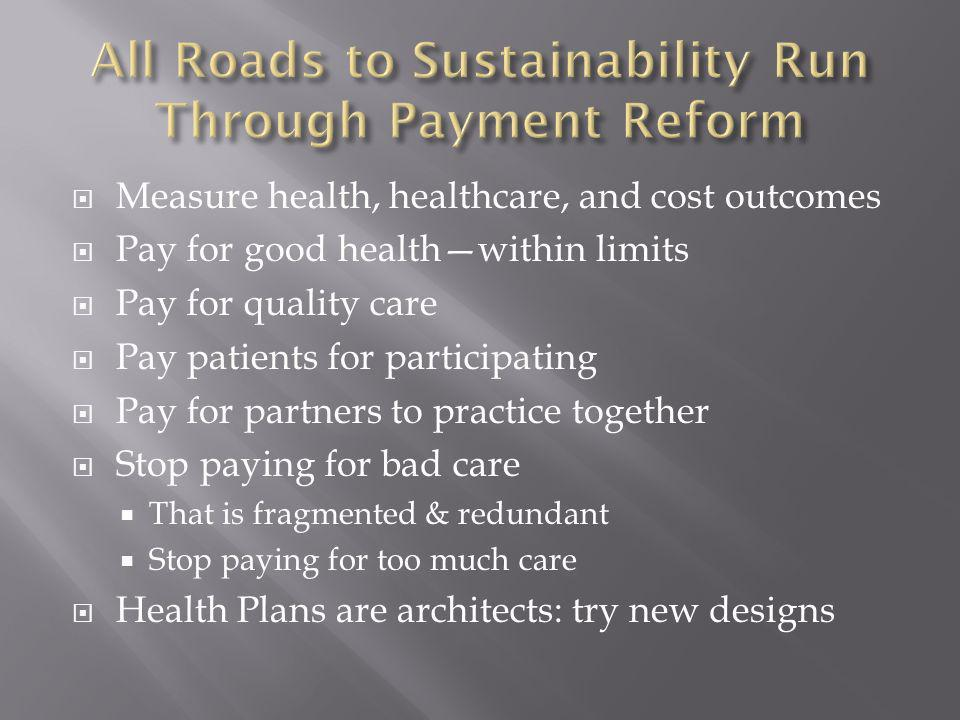 Measure health, healthcare, and cost outcomes Pay for good healthwithin limits Pay for quality care Pay patients for participating Pay for partners to