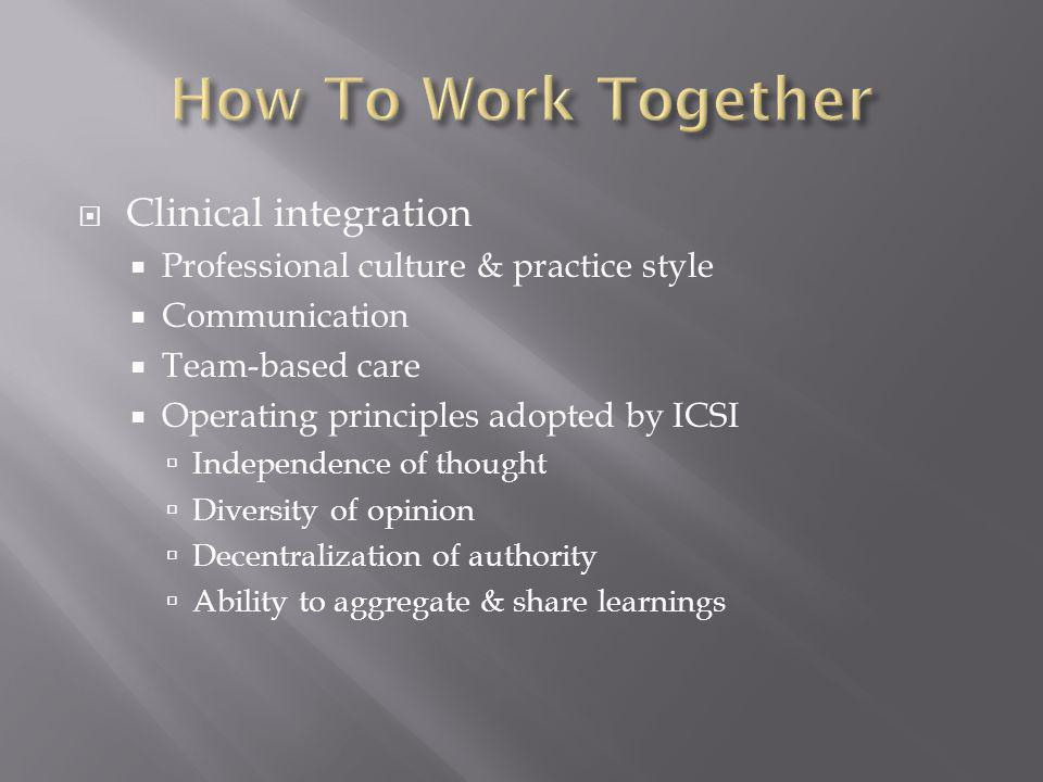 Clinical integration Professional culture & practice style Communication Team-based care Operating principles adopted by ICSI Independence of thought
