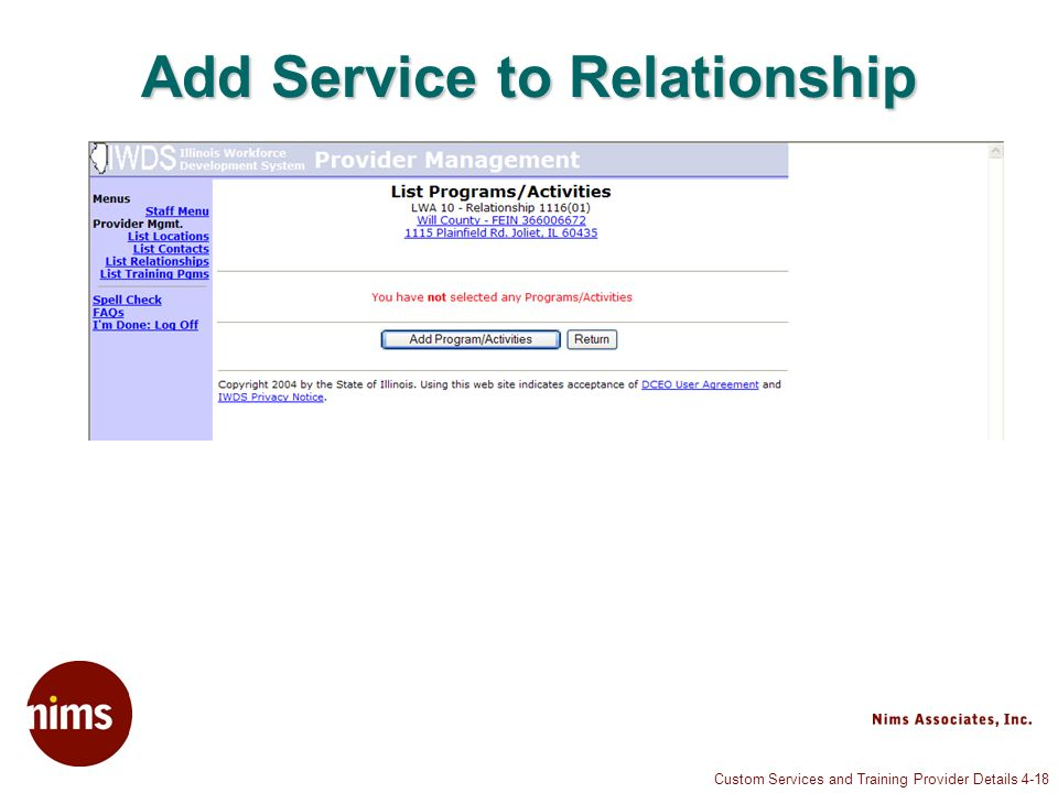 Custom Services and Training Provider Details 4-18 Add Service to Relationship