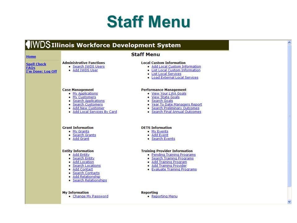 Staff Menu
