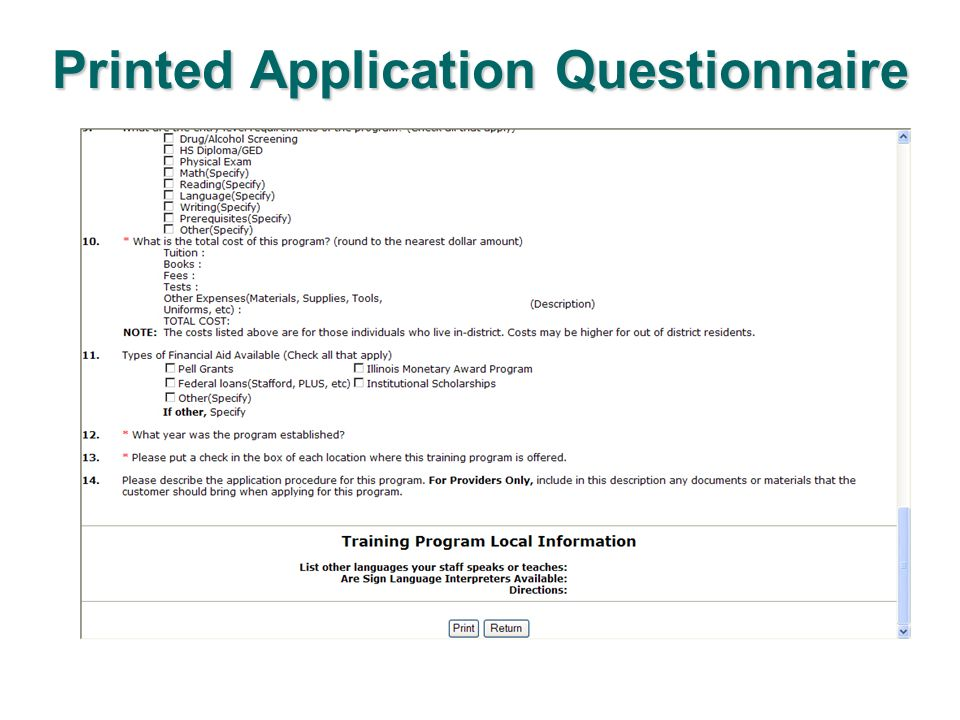 Printed Application Questionnaire