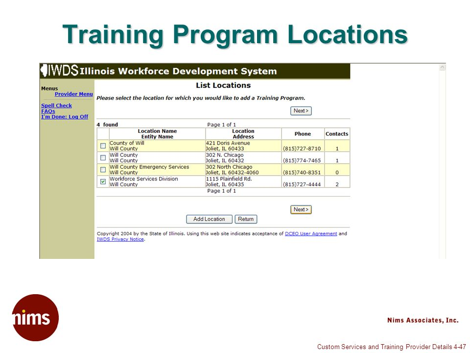 Custom Services and Training Provider Details 4-47 Training Program Locations
