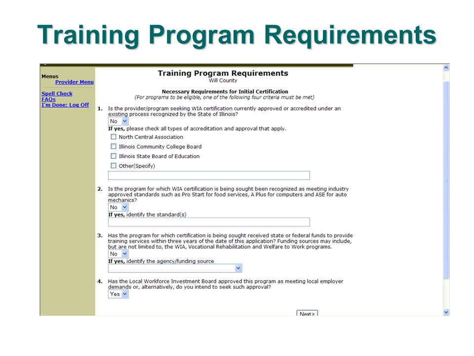 Training Program Requirements
