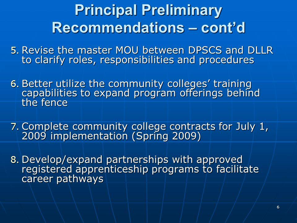 6 Principal Preliminary Recommendations – contd 5.
