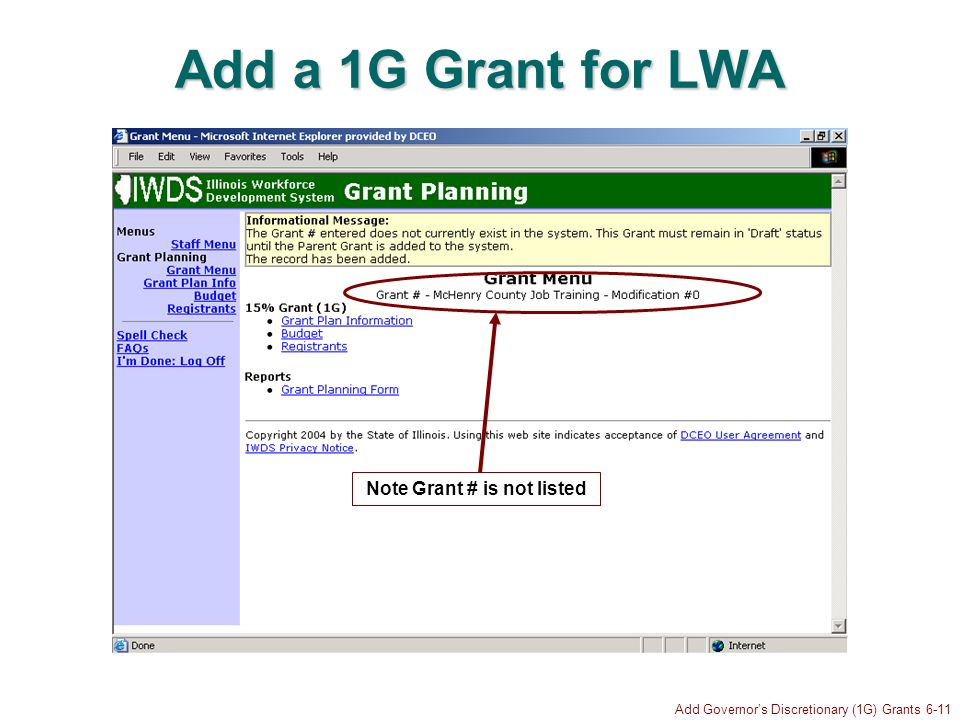 Add Governors Discretionary (1G) Grants 6-11 Add a 1G Grant for LWA Note Grant # is not listed