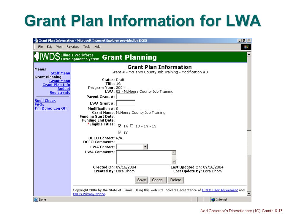 Add Governors Discretionary (1G) Grants 6-13 Grant Plan Information for LWA