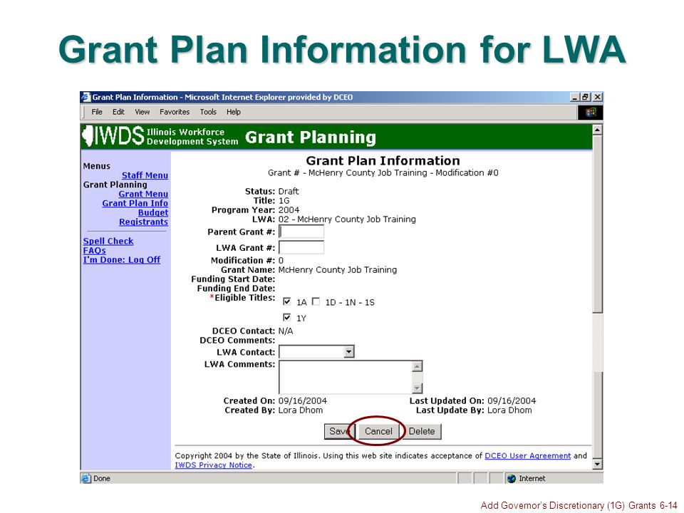 Add Governors Discretionary (1G) Grants 6-14 Grant Plan Information for LWA
