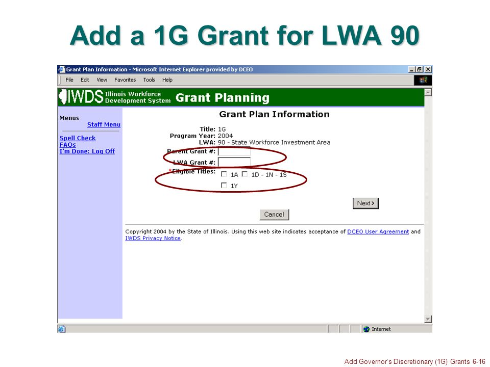 Add Governors Discretionary (1G) Grants 6-16 Add a 1G Grant for LWA 90