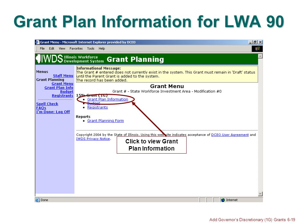 Add Governors Discretionary (1G) Grants 6-19 Grant Plan Information for LWA 90 Click to view Grant Plan Information